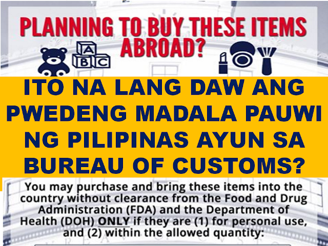 "It has already become a tradition for Filipino overseas workers to send  package or balikbayan box containing gifts and pasalubong for their families, and sometimes even friends.  The Bureau of Customs recently released a list of items and allowed quantity that Filipinos abroad can send or bring to Philippines.    Any excess on the prescribed limits, according to BOC will be seized and forfeited by the government.  If you will be sending balik-bayan box to Philippines or you will be carrying with you ""pasalubong"" on your vacation, make sure that it is within the allowed quantity.  The Bureau of Customs (BOC) released guidelines listing usual contents of balik-bayan box and the allowed quantity.   The most common stuffs being sent by Filipinos abroad to their relatives in Philippines usually includes, perfumes, toiletries like soaps and shampoos and toys.   In the guide list, perfumes are restricted to 5 bottles, there are also limit on the amount of  lipstick and cosmetics, soap and shampoo, toys,  household cleaners, and even childcare articles.   According to BOC, these items can be brought to Philippines without the need of clearance from the Bureau of Food And Drug (FDA) and Department of Health (DOH).  It has already become a tradition for Filipino overseas workers to send  package or balik-bayan box containing gifts and pasalubong for their families, and sometimes even friends.  The Bureau of Customs recently released a list of items and allowed quantity that Filipinos abroad can send or bring to Philippines.   Any excess on the prescribed limits, according to BOC will be seized and forfeited by the government.  If you will be sending balik-bayan box to Philippines or you will be carrying with you ""pasalubong"" on your vacation, make sure that it is within the allowed quantity.  The Bureau of Customs (BOC) released guidelines listing usual contents of balik-bayan box and the allowed quantity.   The most common stuffs being sent by Filipinos abroad to their relatives in Philippines usually includes, perfumes, toiletries like soaps and shampoos and toys.   In the guide list, perfumes are restricted to 5 bottles, there are also limit on the amount of  lipstick and cosmetics, soap and shampoo, toys,  household cleaners, and even childcare articles.   According to BOC, these items can be brought to Philippines without the need of clearance from the Bureau of Food And Drug (FDA) and Department of Health (DOH).   The limitations will be applicable to balik-bayan boxes or packages sent as parcels through mail and other delivery services, and also as passenger baggage.   Any items exceeding the limit mentioned above shall be seized or forfeited by the government.    Upon the release of the guidelines, there are some OFWs who complained to BOC regarding this guidelines.     Many Filipinos choose to send bars of soap, cosmetics, shampoos and perfumes as gifts and ""pasalubong"" for relatives and friends specially those who are going on vacation. Now, there will be limit on sending and bringing these items to Philippines.           The limitations will be applicable to balik-bayan boxes or packages sent as parcels through mail and other delivery services, and also as passenger baggage.   Any items exceeding the limit mentioned above shall be seized or forfeited by the government.    Upon the release of the guidelines, there are some OFWs who complained to BOC regarding this guidelines.      Many Filipinos choose to send bars of soap, cosmetics, shampoos and perfumes as gifts and ""pasalubong"" for relatives and friends specially those who are going on vacation.   Here are some sentiments expressed by OFWs:    "" This is not good. We as OFW are trying hard to earn to buy our pasalubong items when there are sales promotions only. If you are asking us to limit our pasalubong items how can we divide it to the entire family? ""    While some are also worried for the packages on the way in case the items will be confiscated since  there is now limit on sending and bringing these items to Philippines."