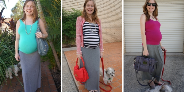 third trimester outfits with jersey stretchy maxi skirt | away from the blue
