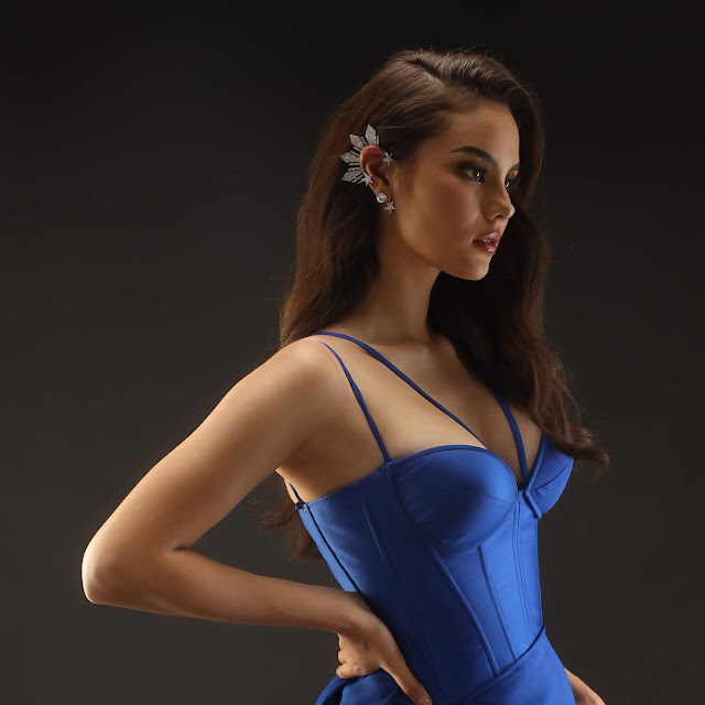 Catriona Gray on Blue Filipiniana Dress