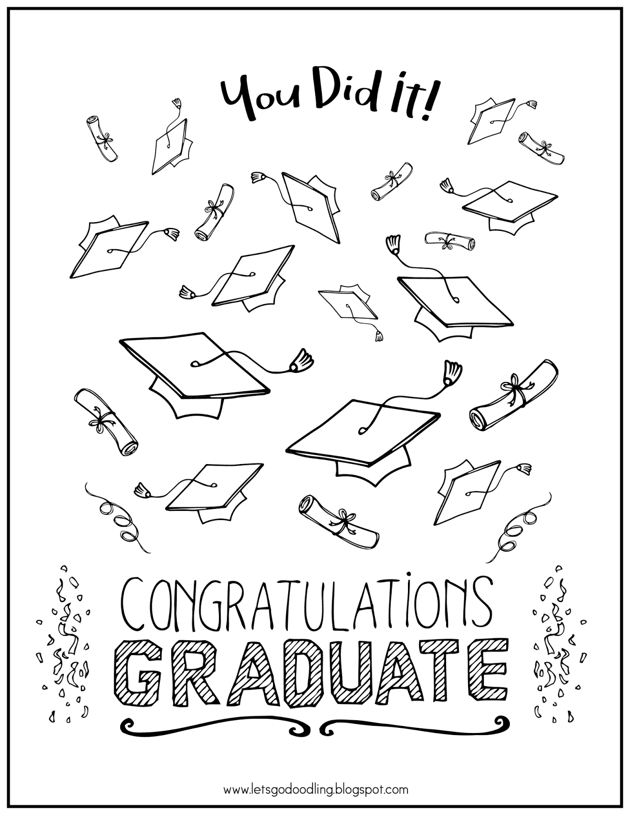 FREE Printable Coloring Page: Graduation and Mortarboard
