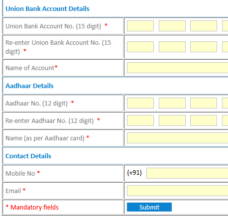 How to link Aadhaar Card with Union Bank of India Account