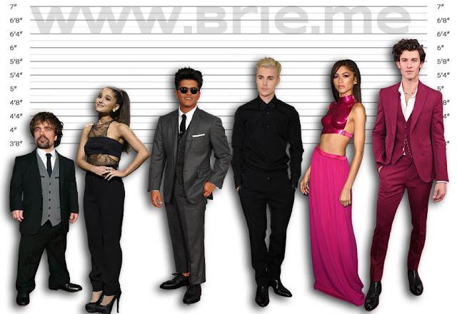 Peter Dinklage, Ariana Grande, Bruno Mars, Justin Bieber, Zendaya, and Shawn Mendes height comparison