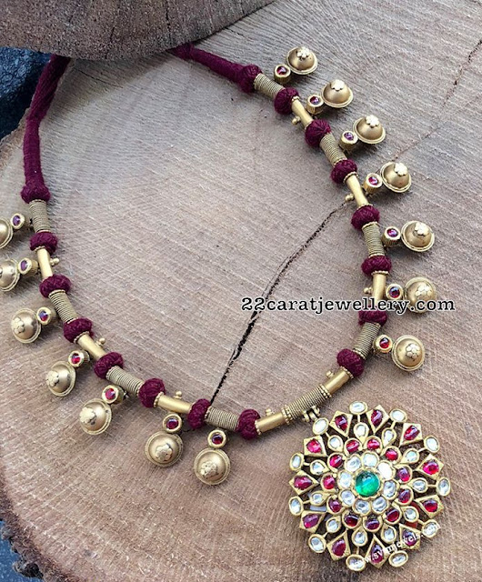 Red Thread Necklace with Kundan Pendant