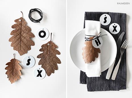 DIY-Serviettenanhänger aus Herbstblättern und Emailleschildern von RAMSIGN - Herbstdeko