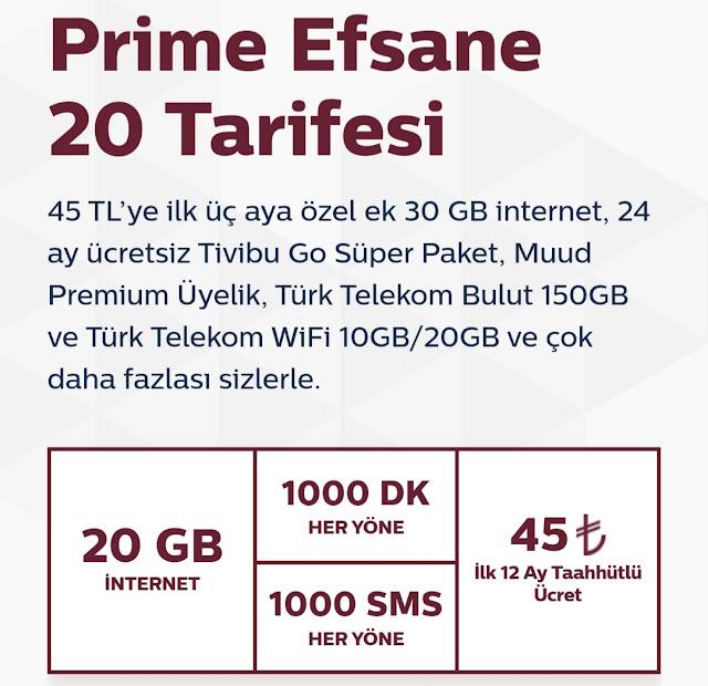Türk Telekom Yeni Prime 20 Tarifesi