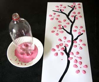 Seni Bekas Membuat Lukisan Dinding Menggunakan Botol Bekas