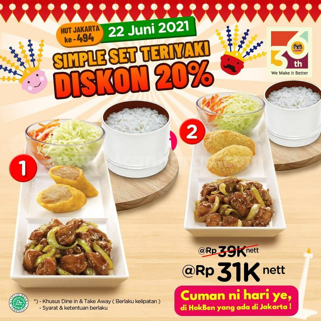 Promo HOKBEN Spesial HUT Kota Jakarta - Simple Set Teriyaki DISKON hingga 20%