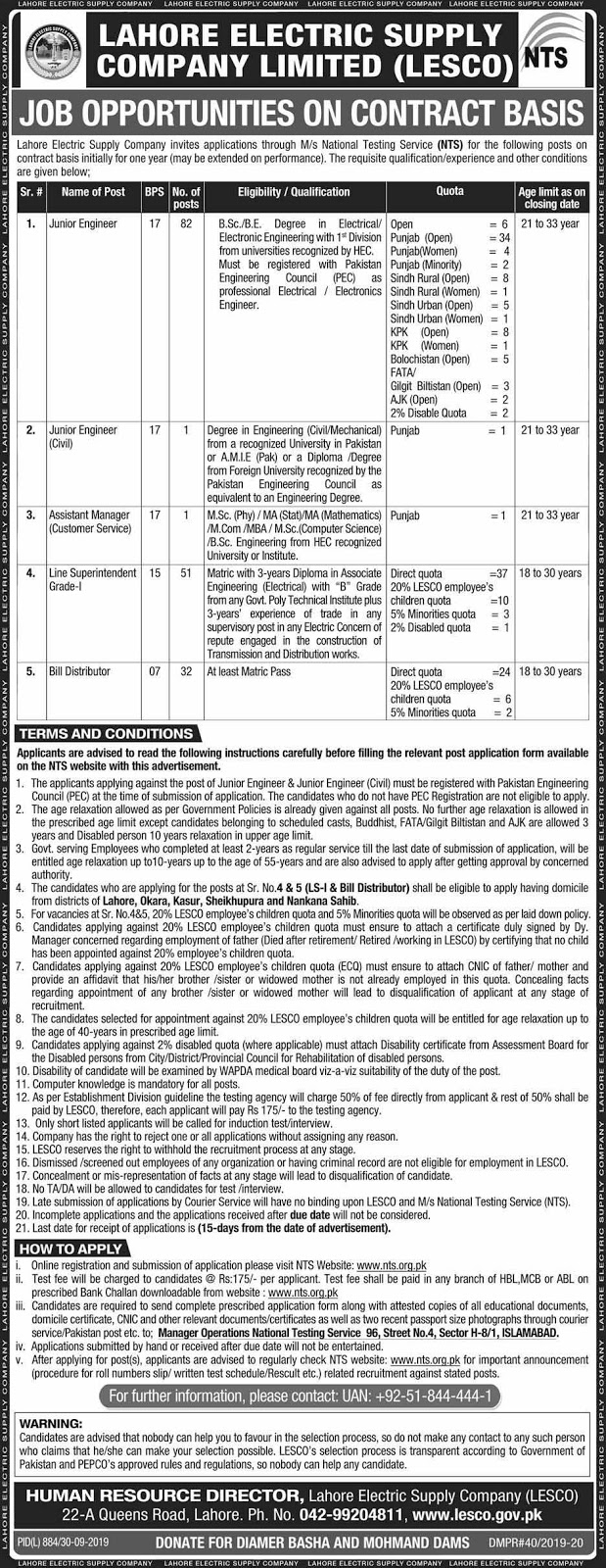 NTS Jobs in Lahore Electric Supply Company Limited (LESCO)