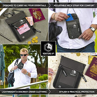 Travel Neck Pouch Neck Wallet with RFID Blocking