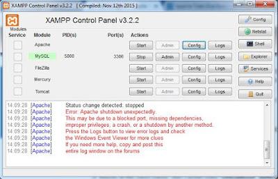 Apache tidak bisa Running di XAMPP
