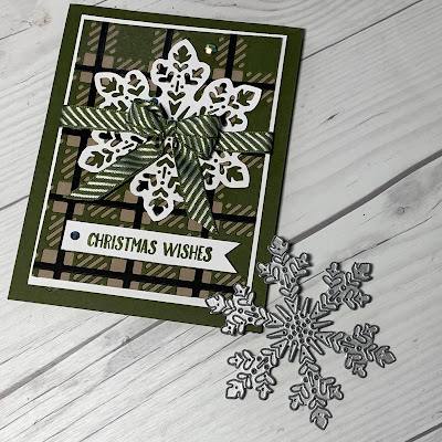 Christmas Card with Snowflake and Striped Bow