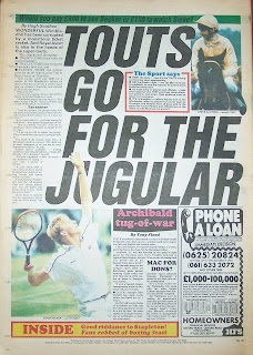 Back page of the Sunday Sport newspaper from 14th June 1987