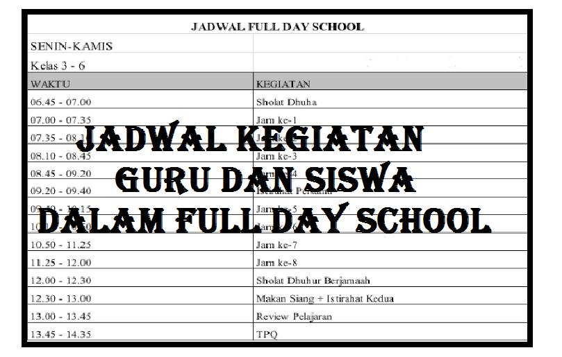 Jadwal Kegiatan Guru dan Siswa dalam Full Day School