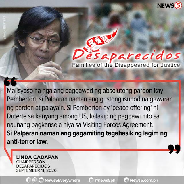 Jovito Palparan bigyan din ng pardon ayon kay former Interior Sec. Rafael Alunan III.