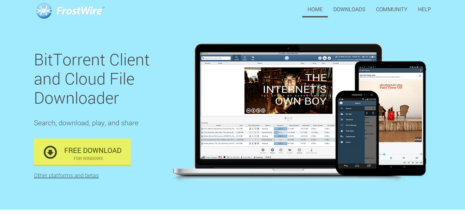 FrostWire.com - BitTorrent Client and Cloud downloader app ...