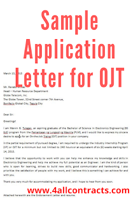 scribd Sample Application Letter for OJT