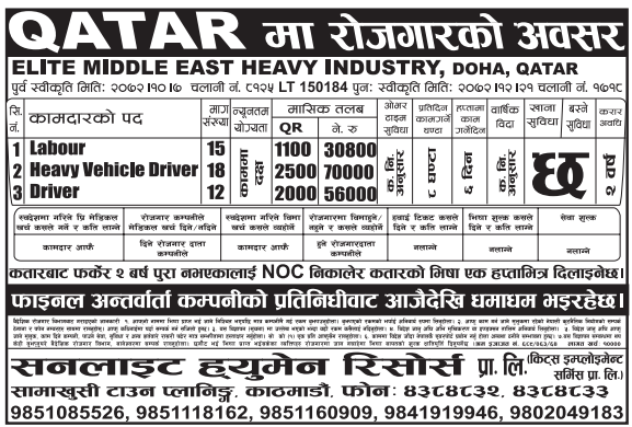 Jobs For Nepali In Qatar, Free Visa, Free Ticket Salary -Rs. 56,000/
