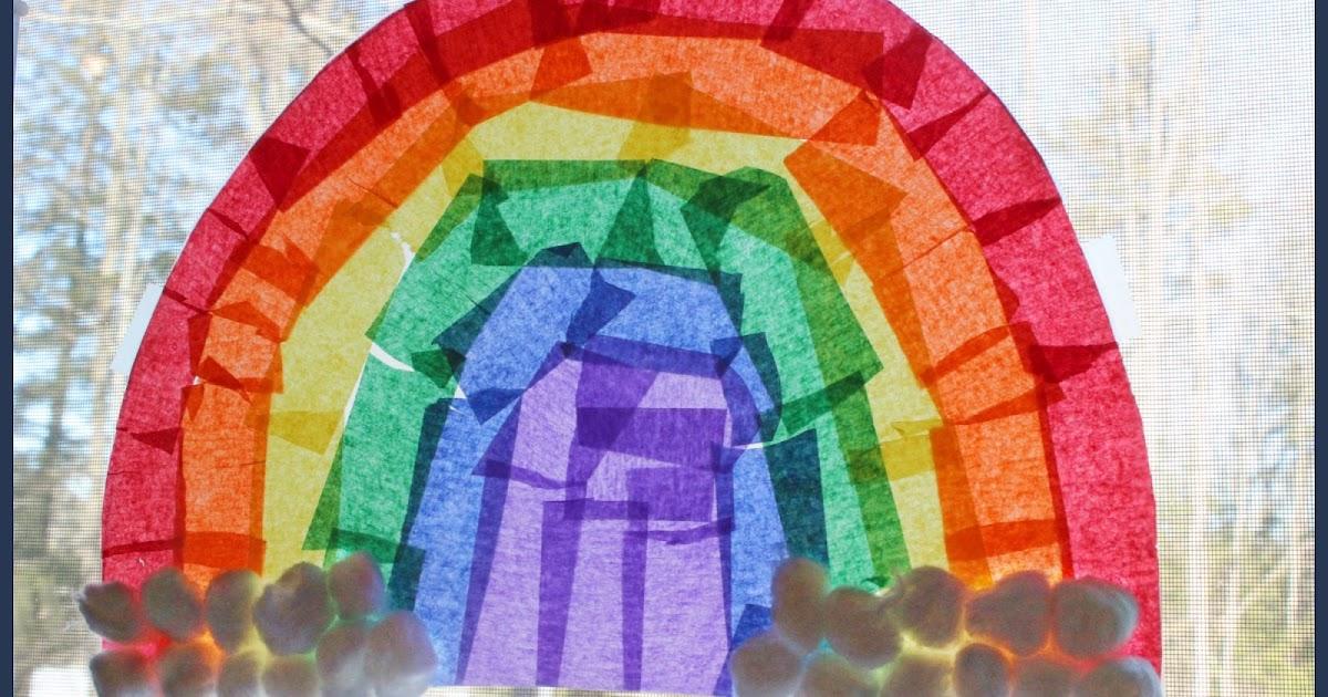Kitchen Floor Crafts Crepe Paper Rainbow Collage