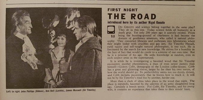 Newspaper listing for The Road