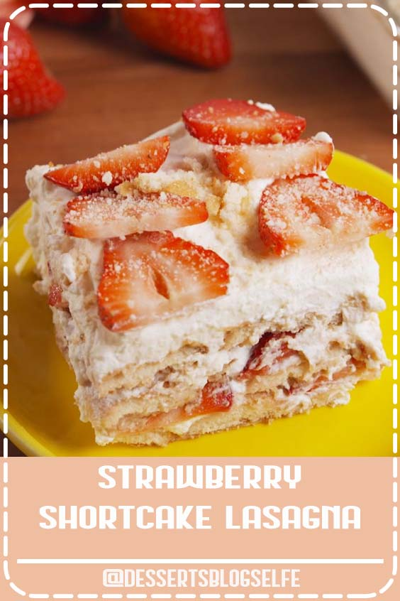 Easy to make, hard to resist. This no-bake Strawberry Shortcake Lasagna is all you need for your springtime party. Get the recipe at Delish.com. #DessertsBlogSelfe #delish #easy #recipe #nobake #dessert #dessertrecipe #strawberryshortcake #dessertlasagna #lasagna #nillawafers #coolwhip #BirthdayDesserts #strawberry