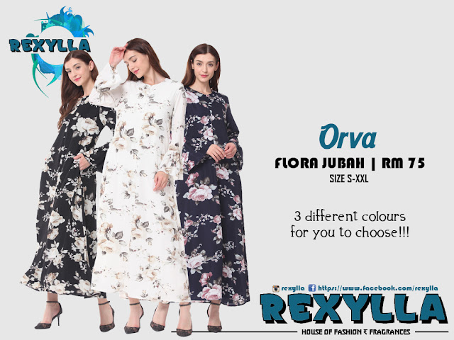 rexylla, flora jubah, trumpet jubah, flora trumpet jubah, orva collection