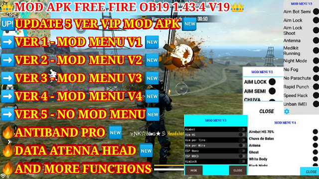 MOD MENU APK FREE FIRE OB19 1.43.4 V19 - MEGA MOD, NEW MOD, ANTI BANNED, AND MORE FUNCTIONS MOD MENU
