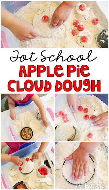 This apple scented cloud dough was super fun to play and make pies with in our apple pie sensory bin. Great for tot school, preschool, or even kindergarten!
