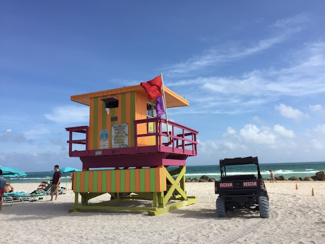 Orange and Green Life Guard Post at Miami Beach