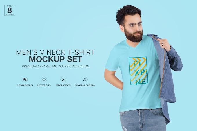 Men's V-Neck T-Shirt Mockup Set