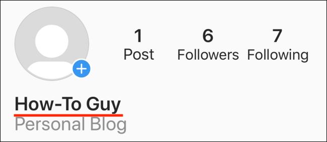 اسم عرض في ملف تعريف Instagram.