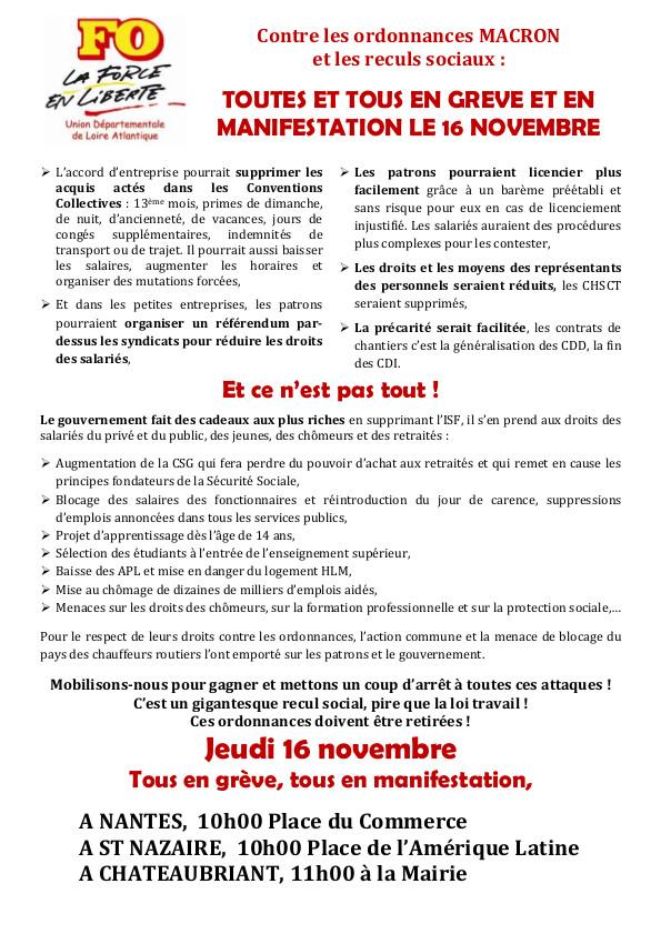 Appel à la grève le 16 novembre, contre les ordonnances et les reculs sociaux