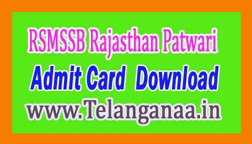 RSMSSB Rajasthan Patwari Mains Admit Card 2018 Download