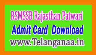 RSMSSB Rajasthan Patwari Mains Admit Card 2016 Download