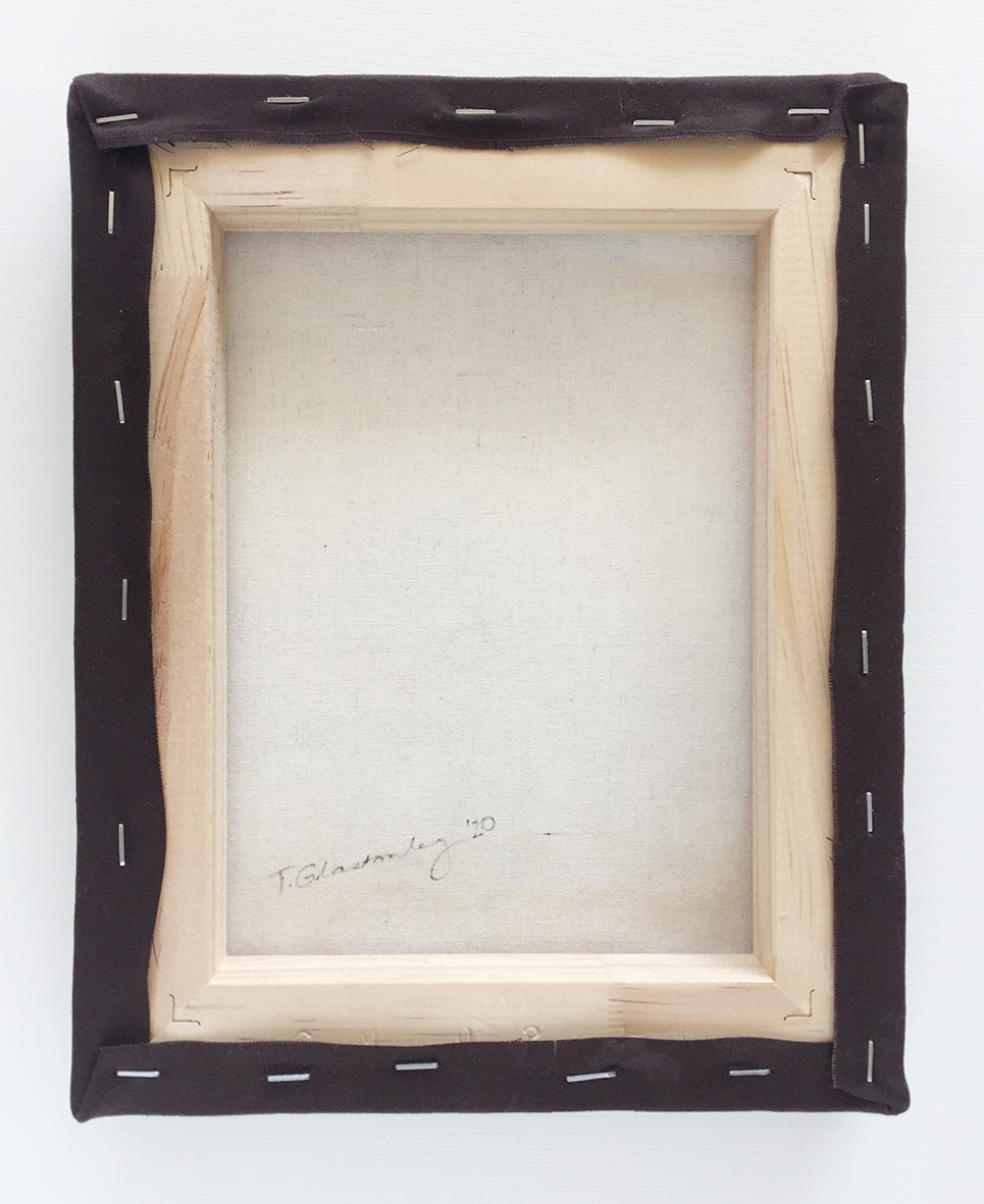 backside of frame showing staples