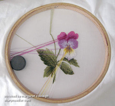 Back of needlepainting project showing parked threads