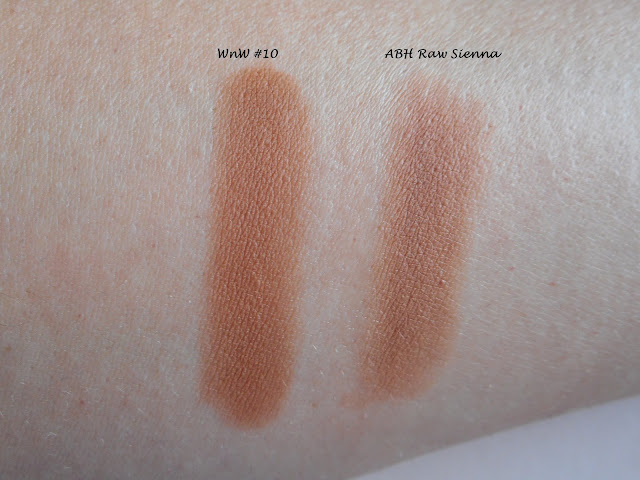 Wet n Wild Color Icon Rose in the Air #10 vs ABH Modern Renaissance Raw Sienna