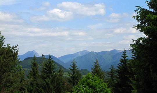 Mała Fatra (widok z rozstaj szlaków Pod Kučerovkou, 660 m n.p.m.).