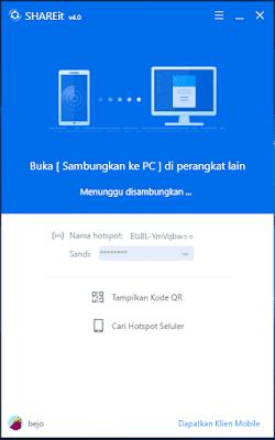 Gambar ilustrasi tampilan aplikasi SHAREit pada PC atau Laptop