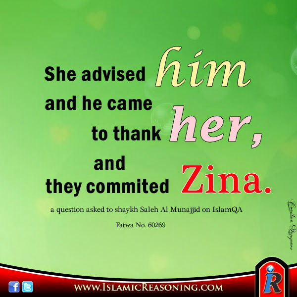 She advised him and he came to thank and they commited zina