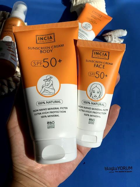 incia yüz vücut için güneş kremleri spf 50