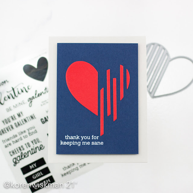 My Favorite Things, MFTStamps, koren wiskman, heart lines, die-namics, heart, red, navy, blue, stamping, card maker, cardmaking,