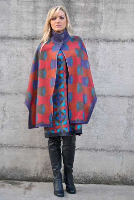felicia magno cape how to wear cape how to combine cape printed cape mariafelicia magno fashion blogger  winter outfit fashion bloggers italy