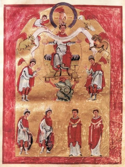 Miniatura dedykacyjna z Ewangeliarza z Akwizgranu