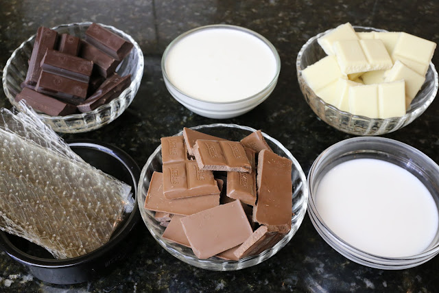 Ingredientes para tarta de tres chocolates