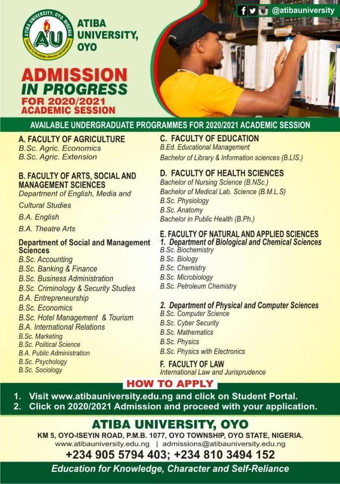Atiba University Post-UTME / DE Screening Form 2020/2021
