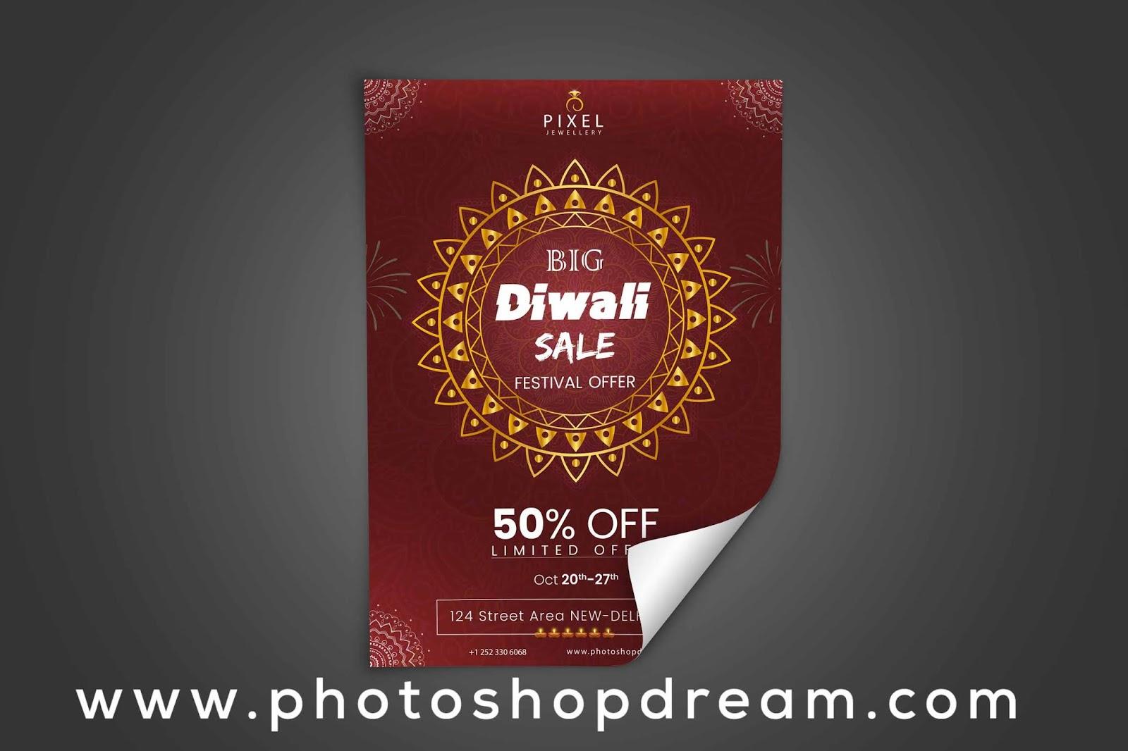Free Download Diwali Flyer PSD Template