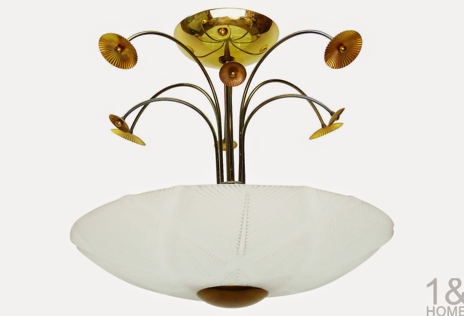 brass poppy ceiling light frosted glass shade Halcolite mid-century vintage retro atomic