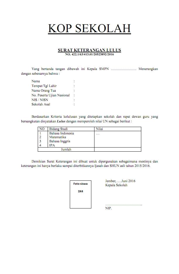 Contoh Surat Keterangan Lulus Suratmenyuratnet