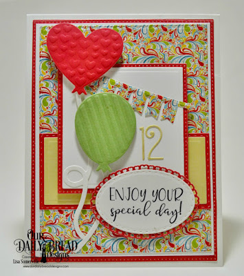 Our Daily Bread Designs Stamp Set: Celebrating You, Paper Collections: Birthday Bash, Plum Pizzazz , Custom Dies: Pierced Rectangles, Double Stitched Rectangles, Rectangles, Squares, Pierced Squares, Birthday Balloons, Double Stitched Ovals, Layered Lacey Ovals, Bitty Borders, Numbers