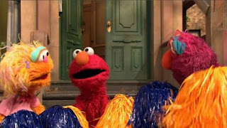 Telly wants to be a cheerleader like Elmo and Zoe. Sesame Street Episode 4420, Three Cheers for Us, Season 44